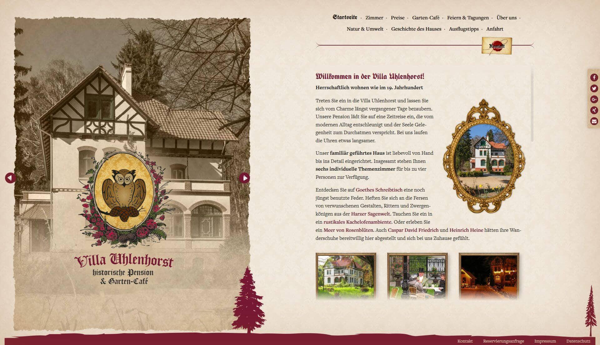 Webdesign | Villa Uhlenhorst, historische Pension in Wernigerode