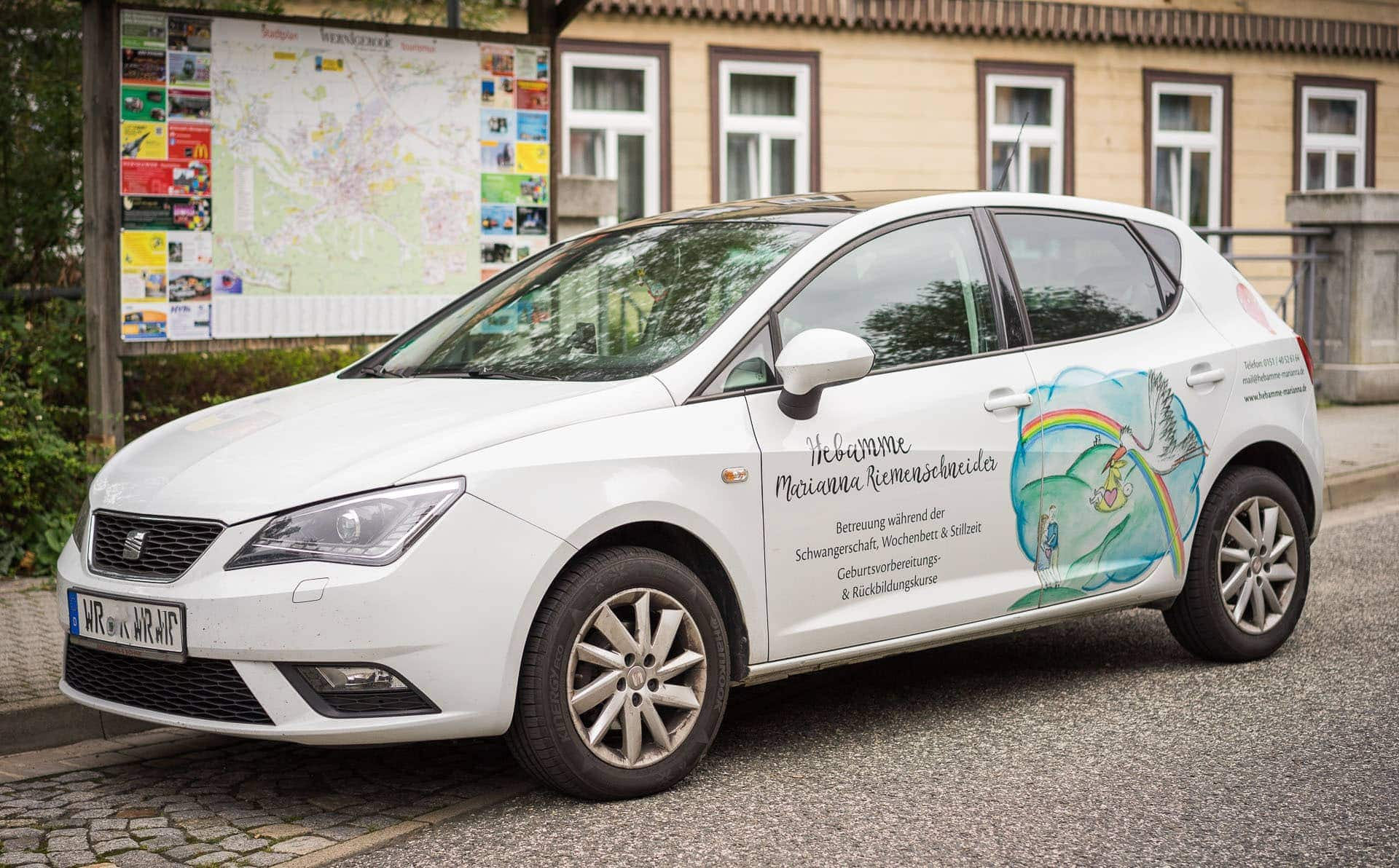 Fahrzeugbeschriftung | Hebamme Marianna Riemenschneider