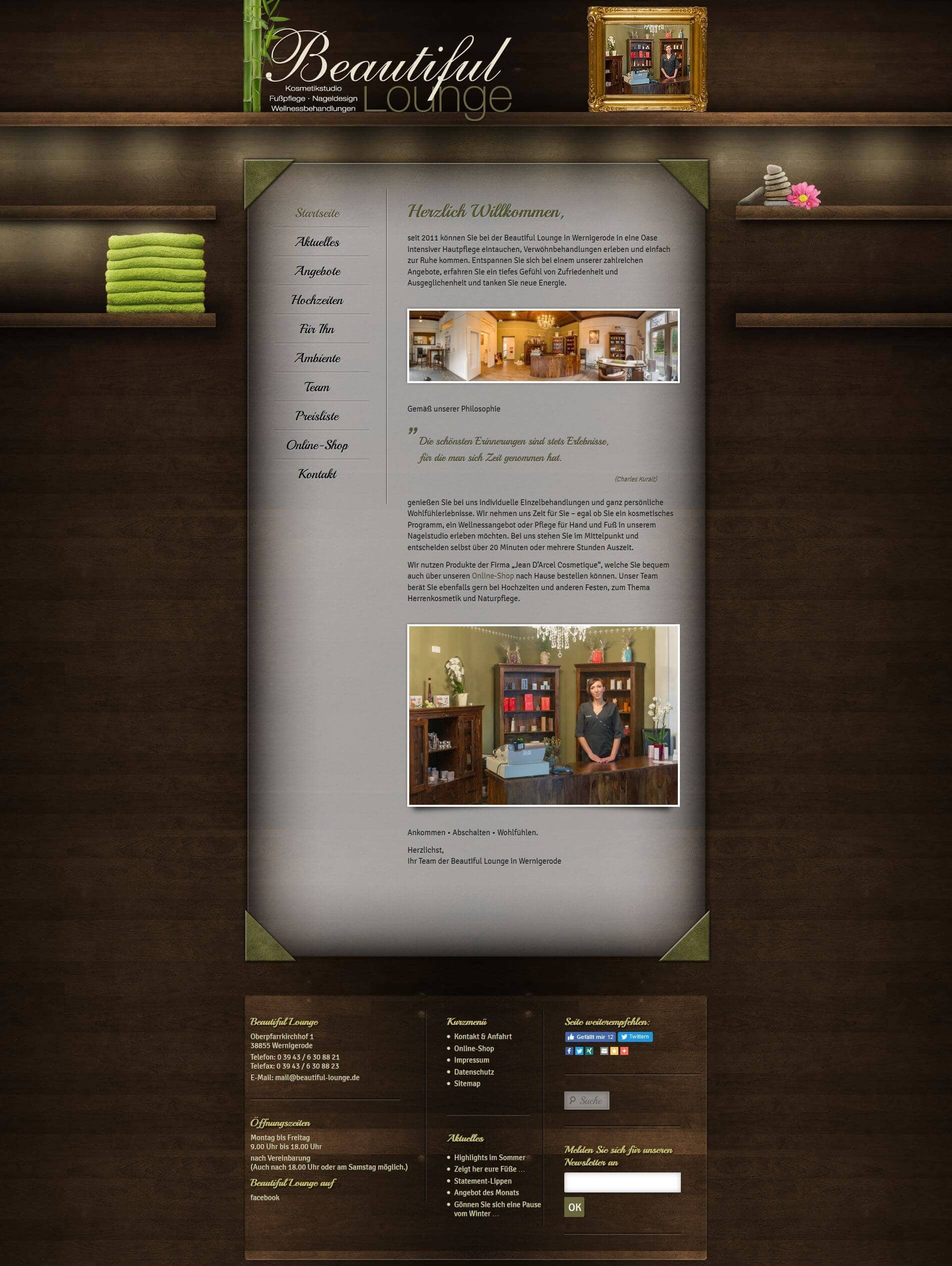 Webdesign   Beautiful Lounge in Wernigerode - www_beautiful-lounge_de