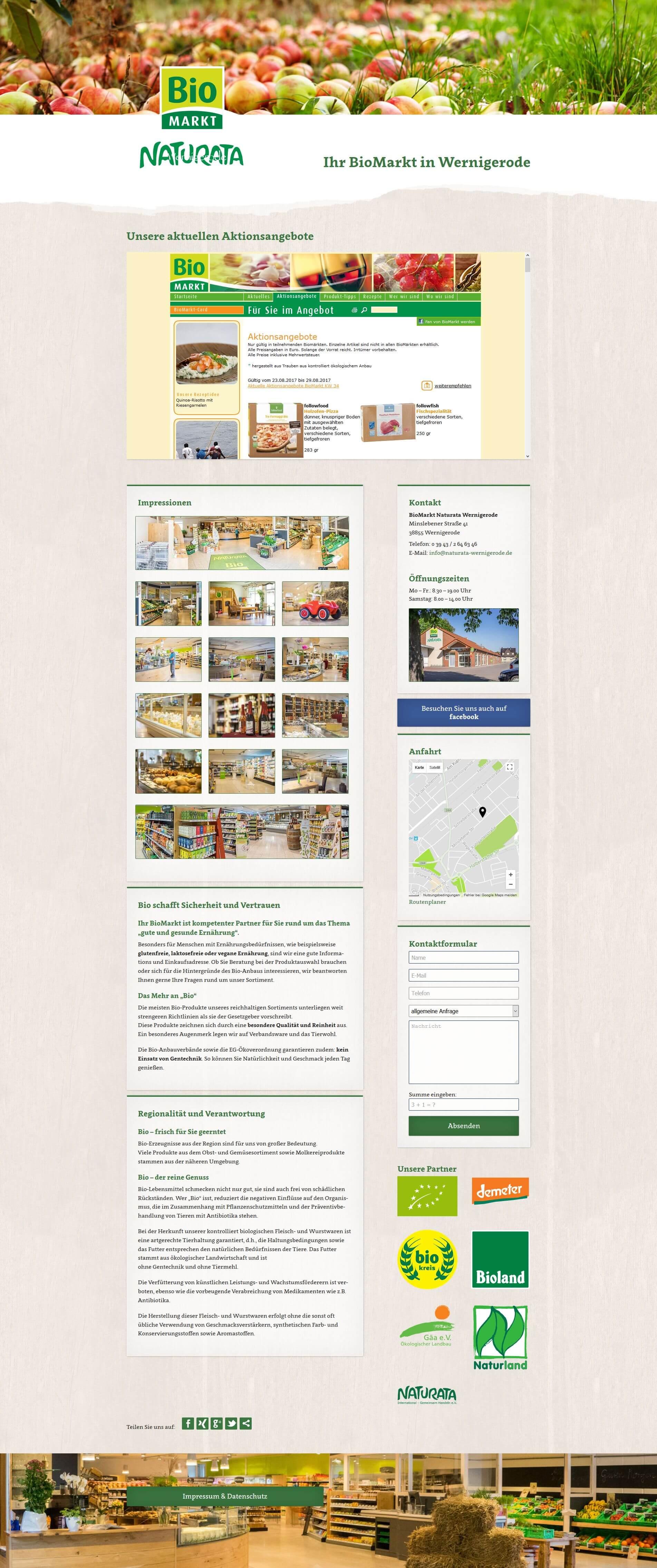 Webdesign | BioMarkt Naturata Wernigerode