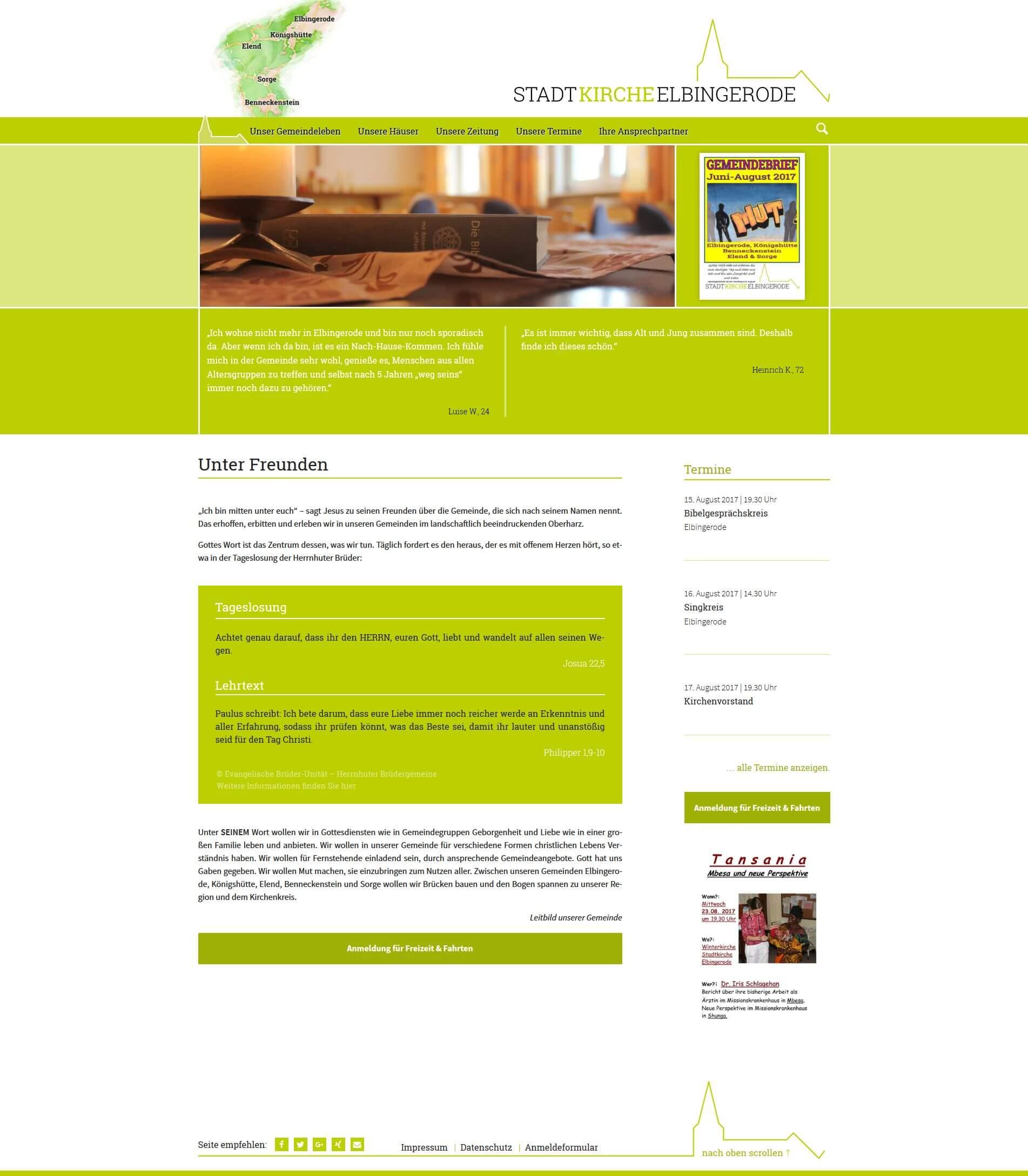 Webdesign | Stadtkirche Elbingerode